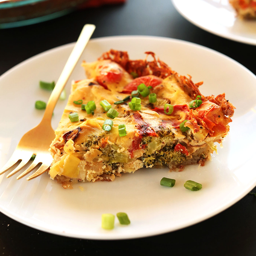 Slice of tofu quiche for our Best Tofu Recipes roundup