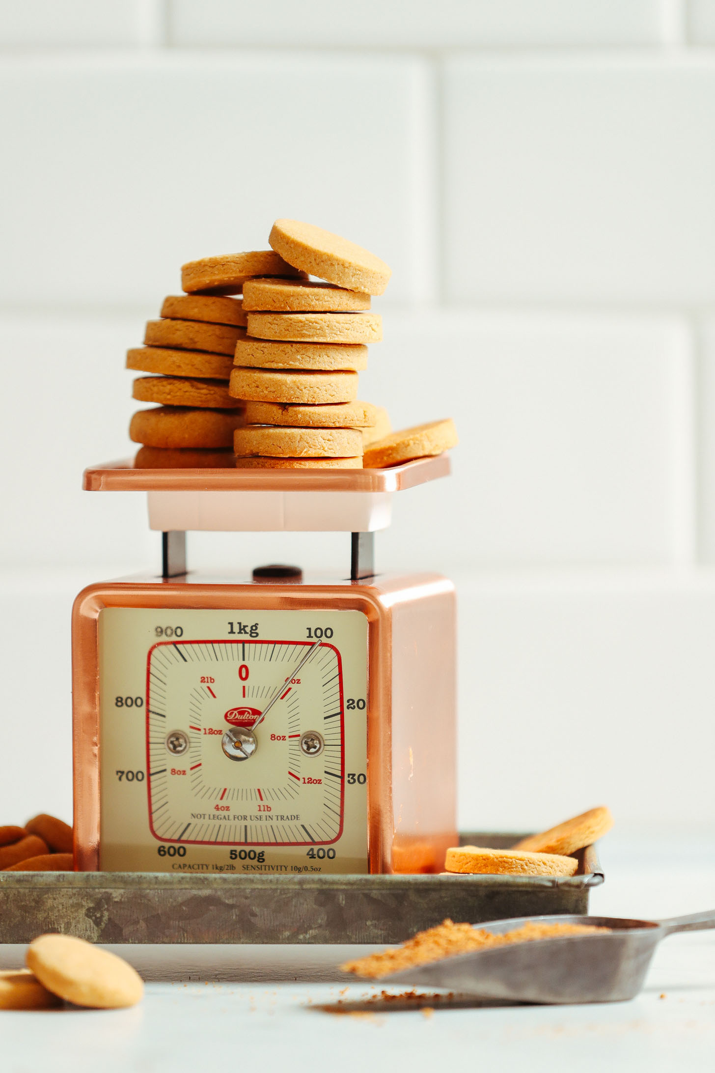 Scale loaded up with a batch of our Vegan Gluten Free Vanilla Wafers recipe