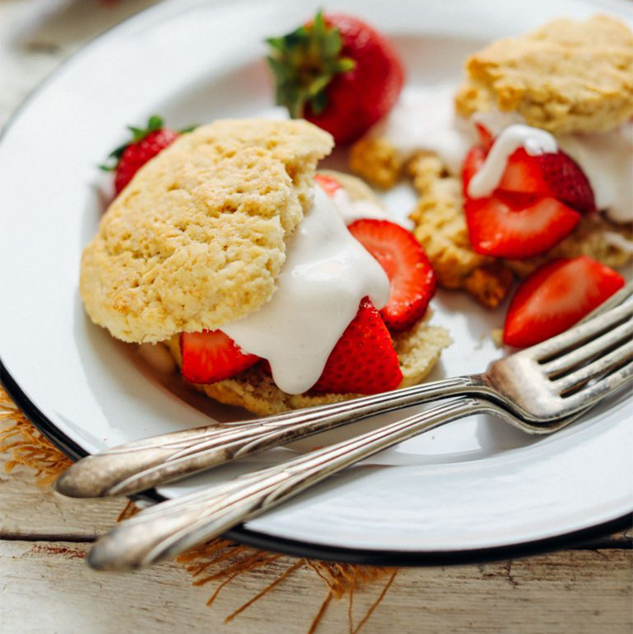 Plate of GF Vegan Strawberry Shortcake for an Easy Plant-Based Mother's Day Recipe