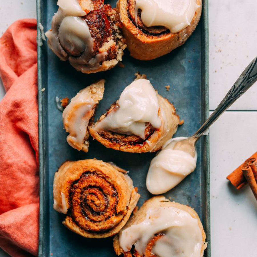 Tray of Vegan Gluten-Free Cinnamon Rolls for our roundup of Easy Plant-Based Mother's Day Recipes