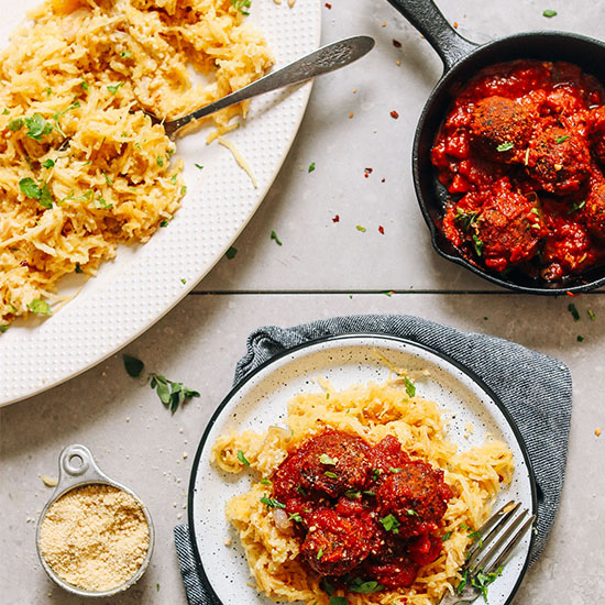 Plate of our Vegan Spaghetti Squash and Meatballs recipe