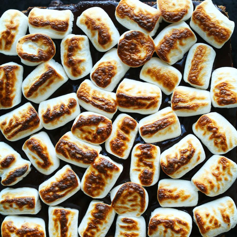 Baking sheet of Roasted Vegan Marshmallows