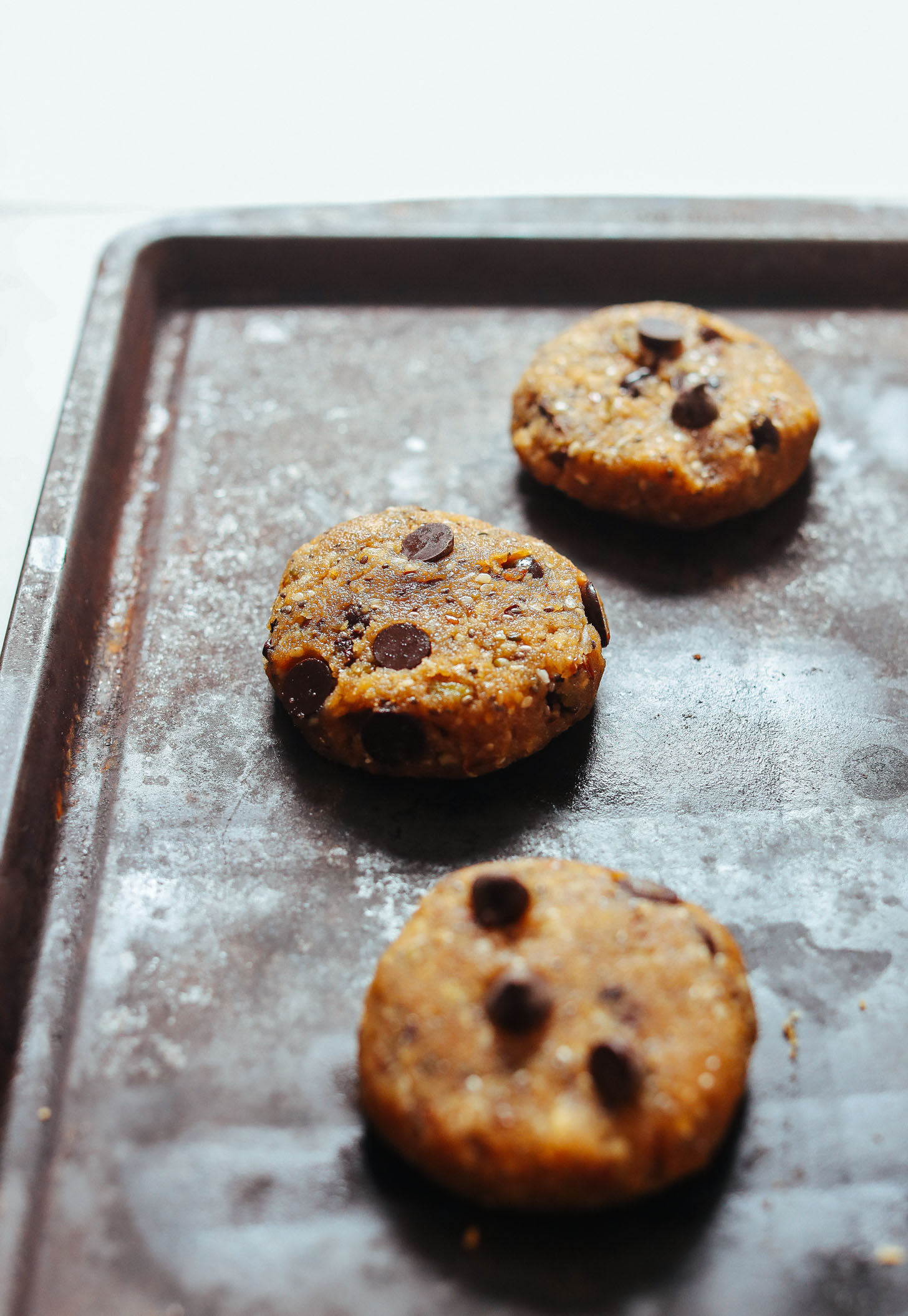 Baking sheet with gluten-free vegan Trail Mix Cookies