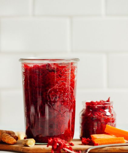 Jars filled with our tangy healthy homemade sauerkraut recipe