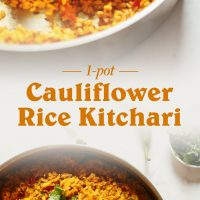 Pan filled with a batch of our 1-Pot Cauliflower Rice Kitchari