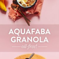Platter of ingredients and bowls and baking sheet of our Oil-Free Aquafaba Granola recipe