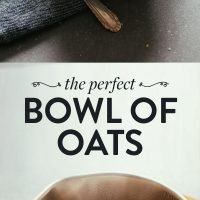 Pot of freshly cooked oats and bowls of our Perfect Bowl of Oats recipe