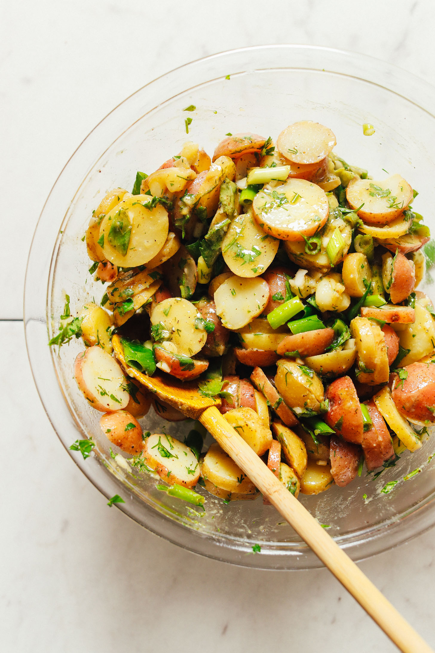 Bowl of our freshly mixed French Style Potato Salad recipe