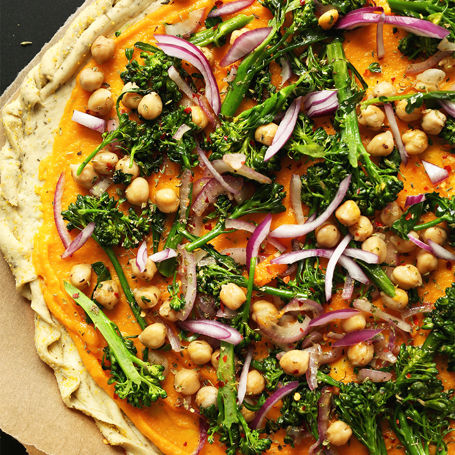 Close up shot of our Butternut Squash Vegetable Pizza recipe