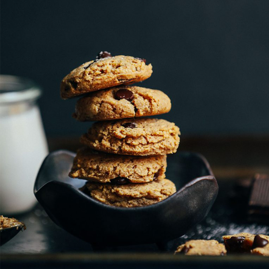 Stack of Almond Butter Chocolate Chip Cookies