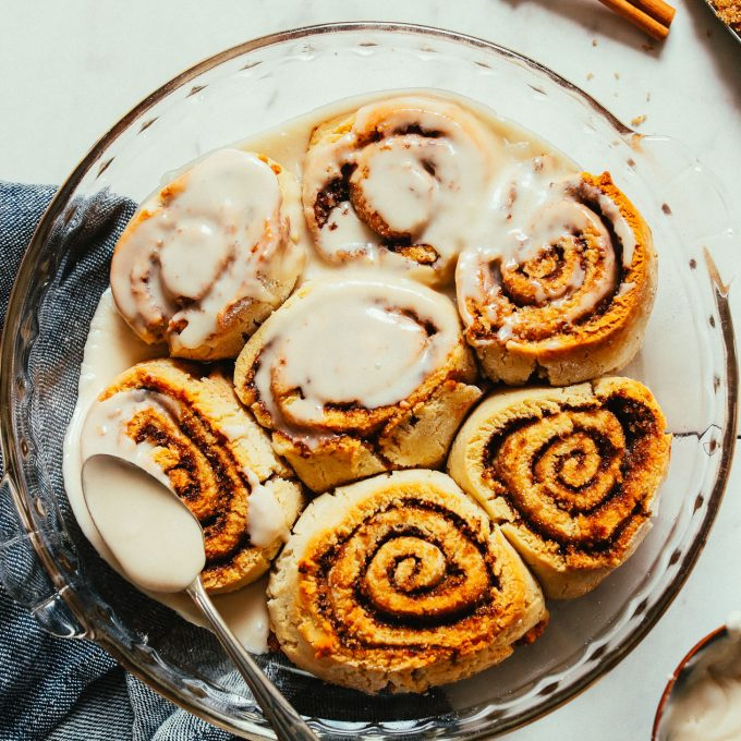 Pan of our Amazing Vegan Gluten-Free Cinnamon Rolls