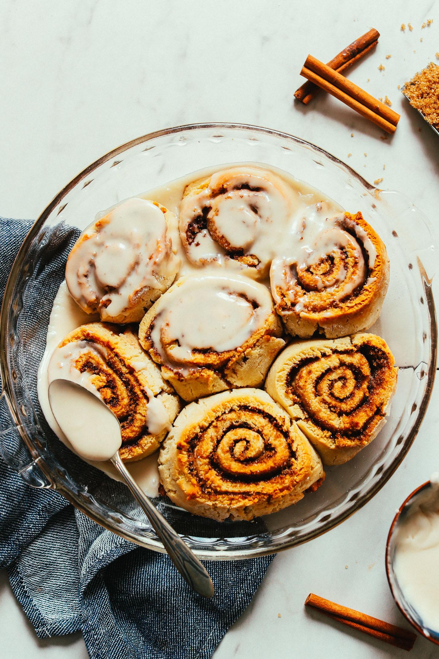 Pan Of Delicious Homemade Vegan Gluten Free Cinnamon Rolls