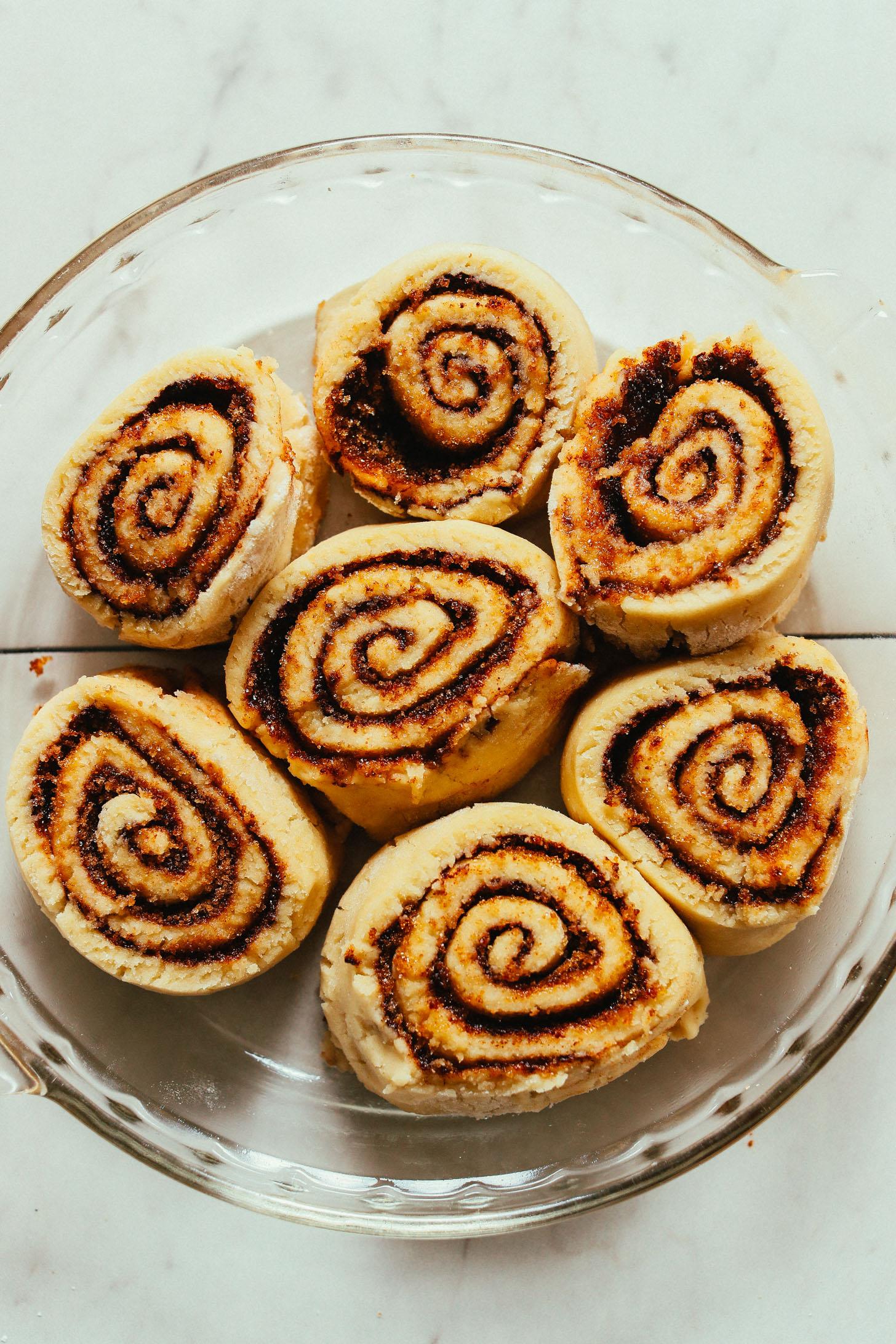 Pan of freshly risen Vegan Gluten Free Cinnamon Rolls ready to go in the oven