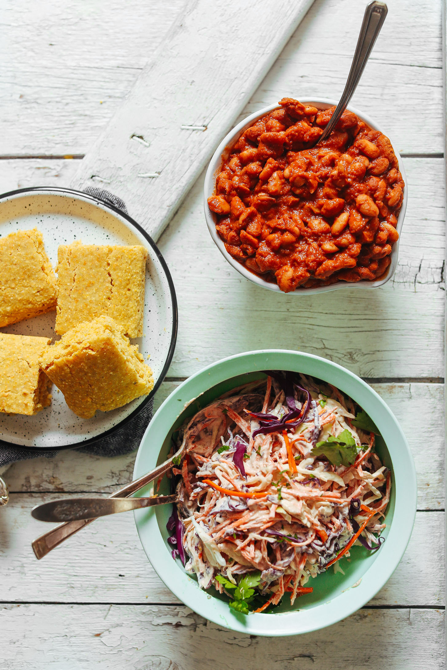 Baked Beans, Cornbread, and Coleslaw for making delicious vegan BBQ Bowls