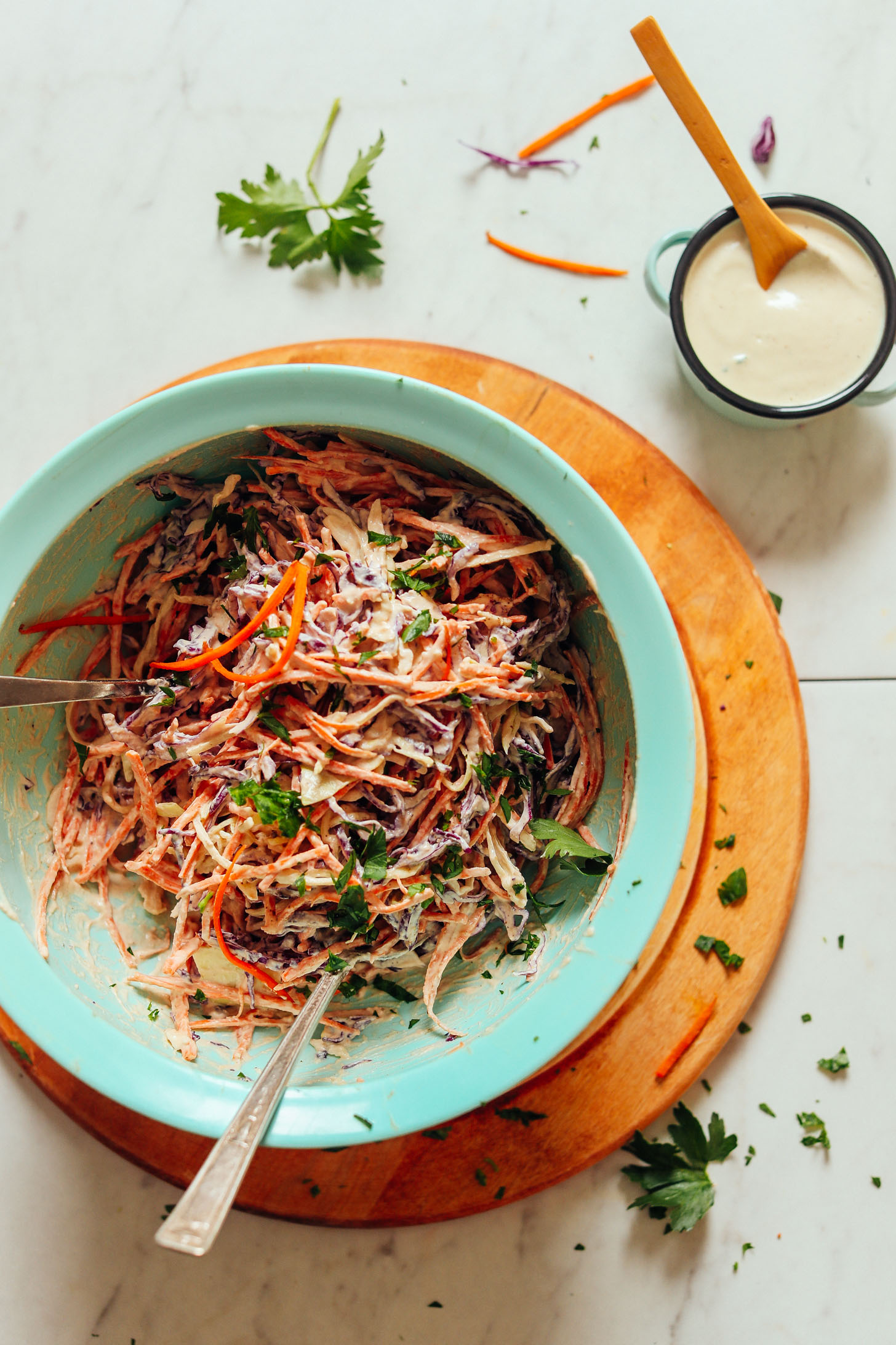 Bowl filled with a batch of our easy Vegan Cole Slaw recipe
