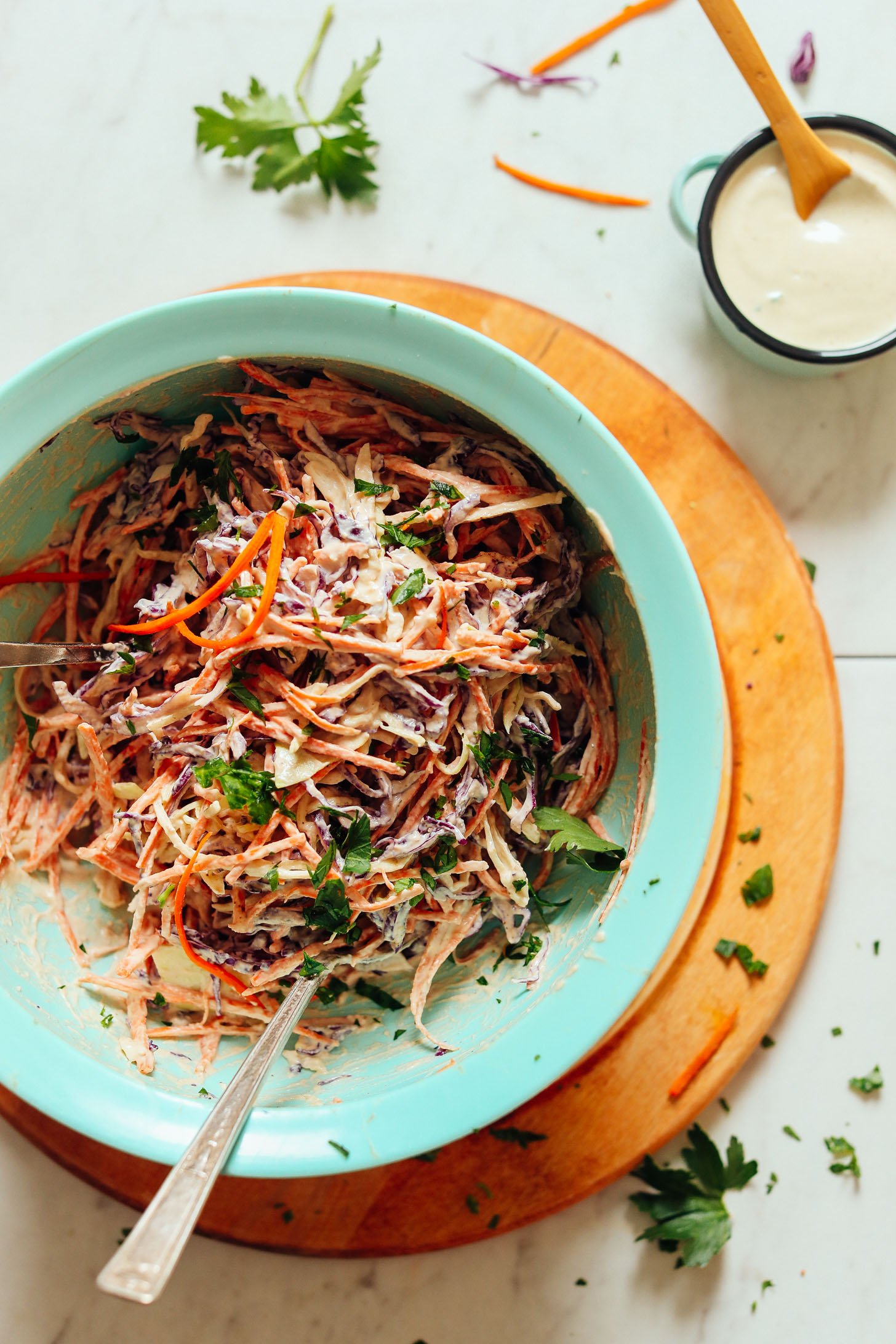 Big bowl of our delicious and creamy Vegan Cole Slaw