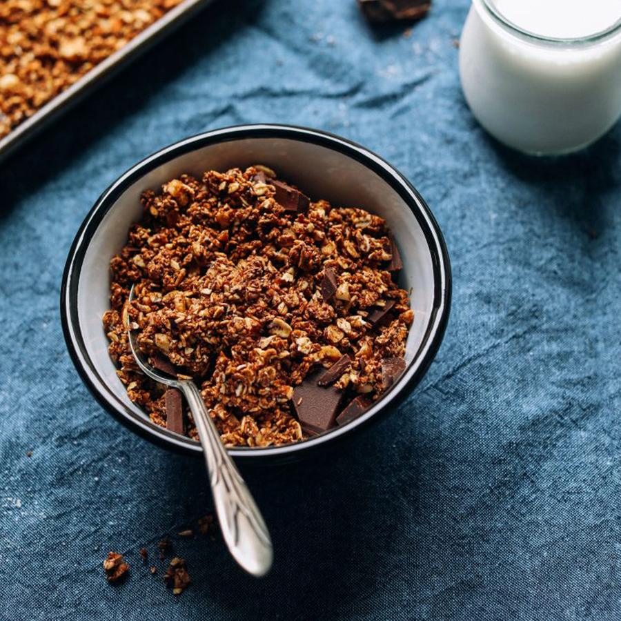 Bowl of Dark Chocolate Granola perfect for road trips