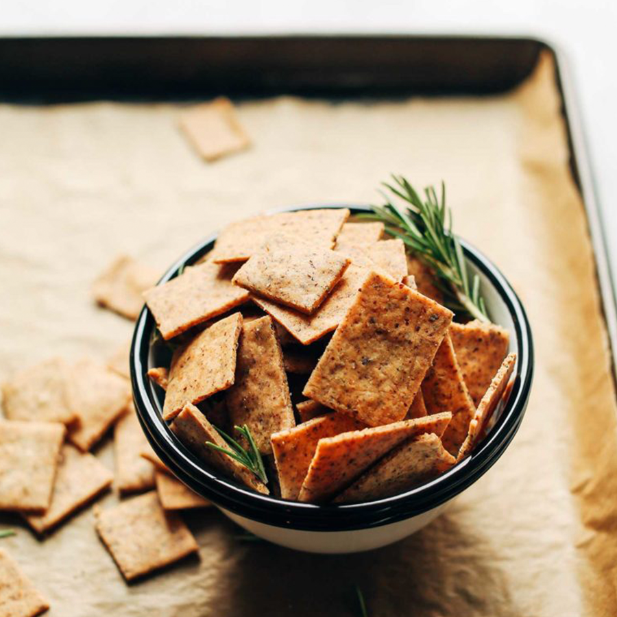 Bowl of homemade crackers for taking on a road trip