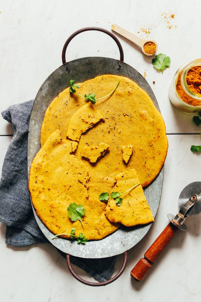 Fluffy Curried Socca (Chickpea Bread)