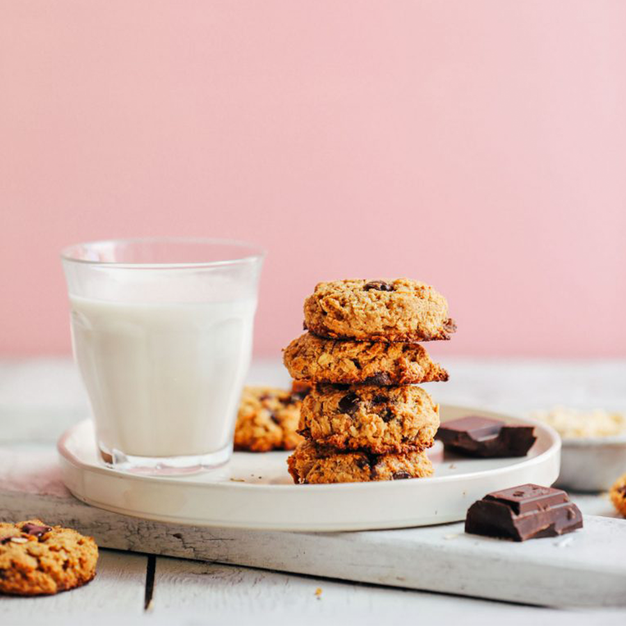Stack of Gluten-Free Vegan Oatmeal Chocolate Chip Cookies for taking as snacks