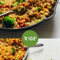 Plate, tray, and skillet filled with our easy 30-Minute Quinoa Fried Rice recipe