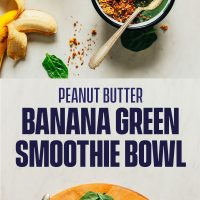 Cutting board of ingredients and bowls filled with our Peanut Butter Banana Green Smoothie Bowl recipe