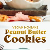 Cutting board and bowl of our 3-ingredient Vegan Peanut Butter Cookies dipped in chocolate