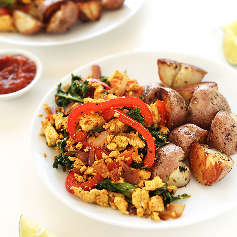Plate of breakfast potatoes and Southwest Tofu Scramble for our roundup of the 10 Best Tofu Recipes