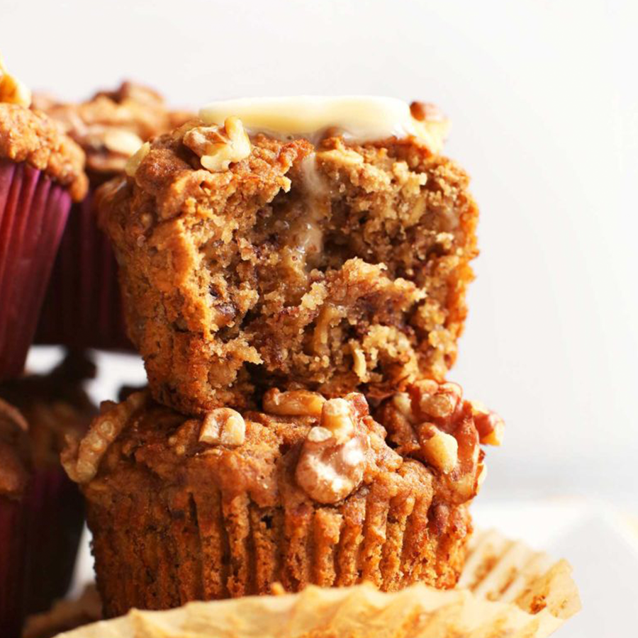 Banana Nut Muffins for a plant-based summer road trip