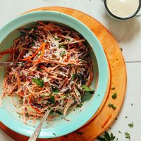 Big bowl of our delicious Vegan Cole Slaw