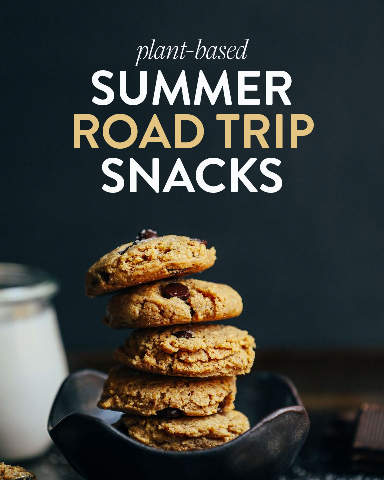 Stack of cookies in a bowl for our roundup of Plant-Based Summer Road Trip Snacks