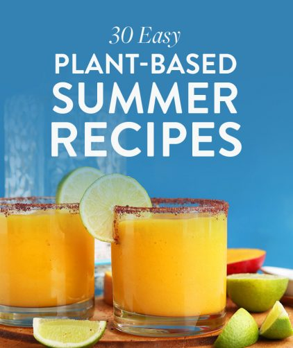 Glasses of our Chili Lime Mango Margarita recipe for our 30 Easy Plant-Based Summer Recipes Roundup