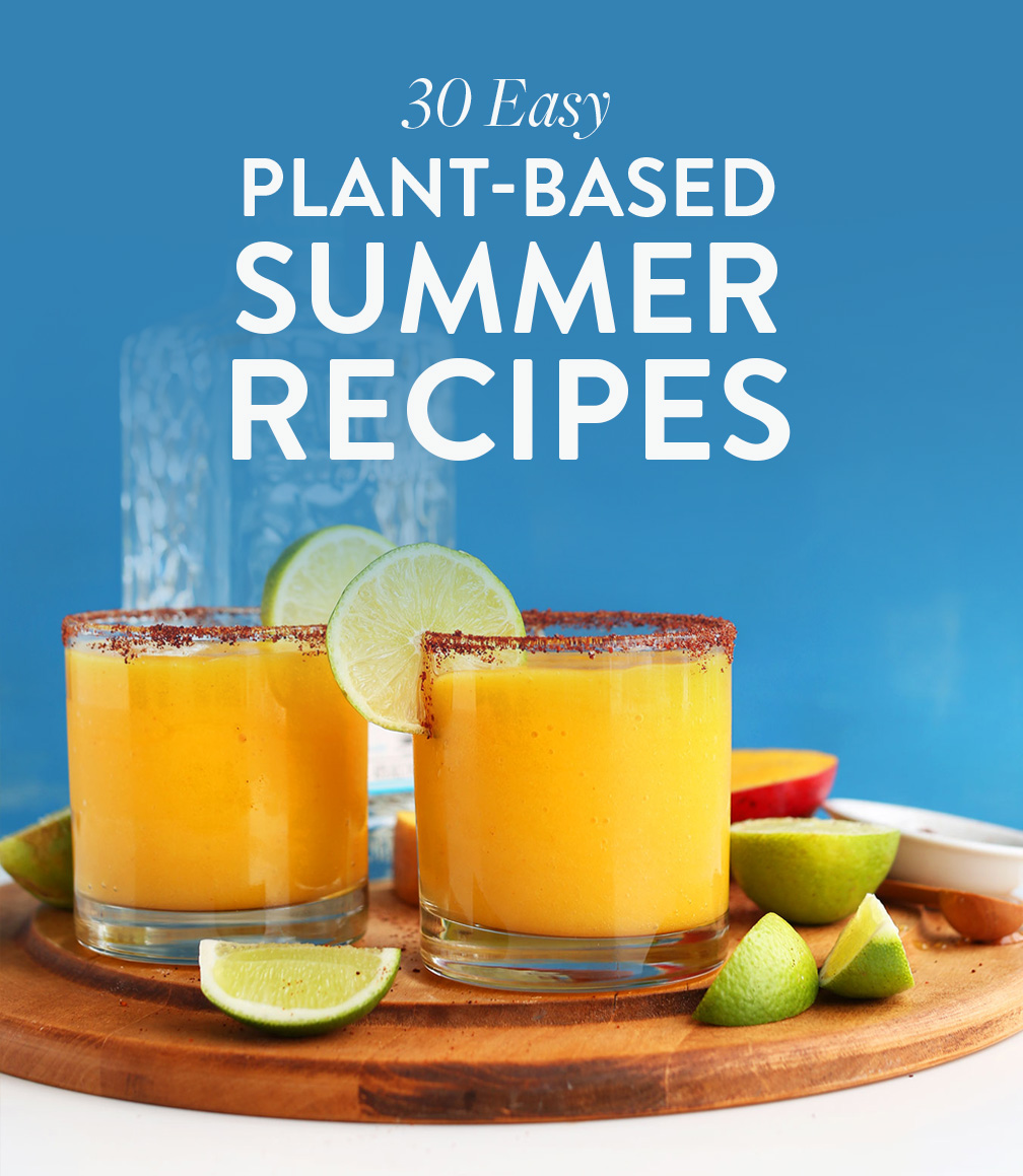 Chili Lime Mango Margarita glasses on a cutting board for our 30 Easy Plant-Based Summer Recipes roundup