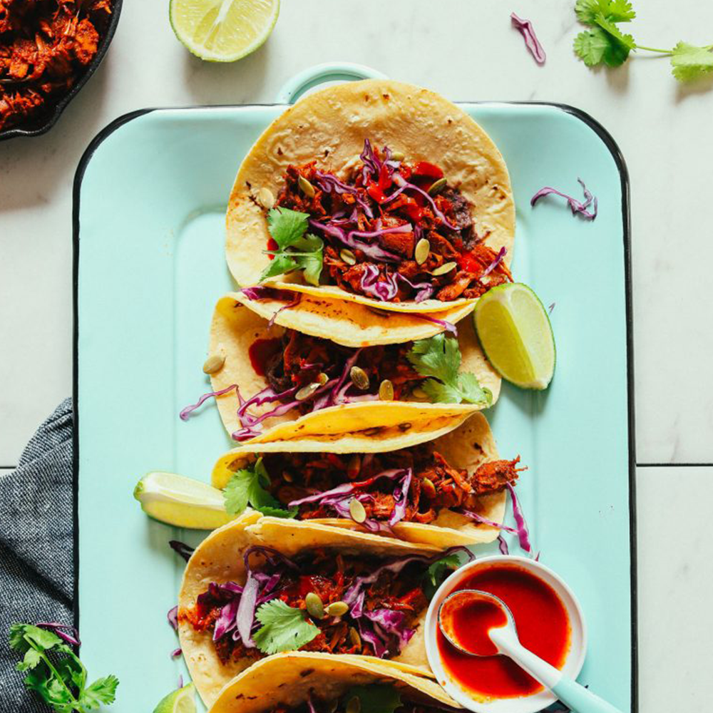 Platter of jackfruit tacos for our roundup of Easy Plant-Based Summer Recipes