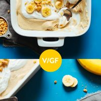Pan and plate of our Vegan Peanut Butter Banana Pudding recipe