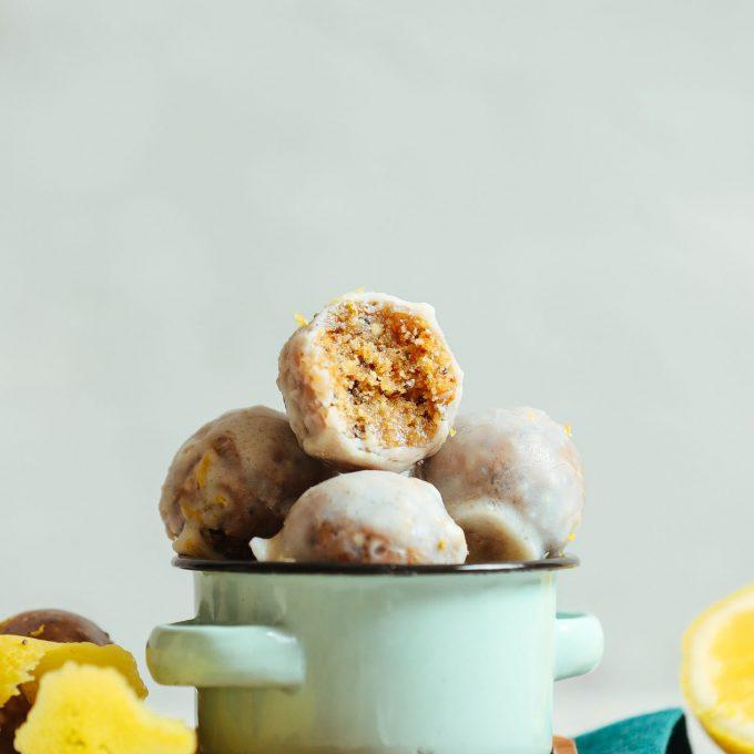 Bowl of naturally sweet Vegan Lemon Poppyseed Donut Holes