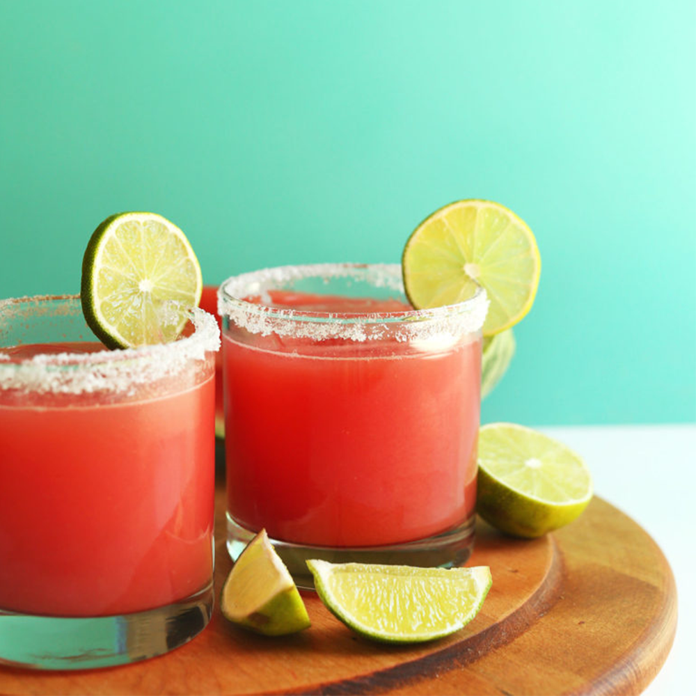 Two glasses of our Watermelon Margaritas recipe for our Easy Plant-Based Summer Recipes roundup
