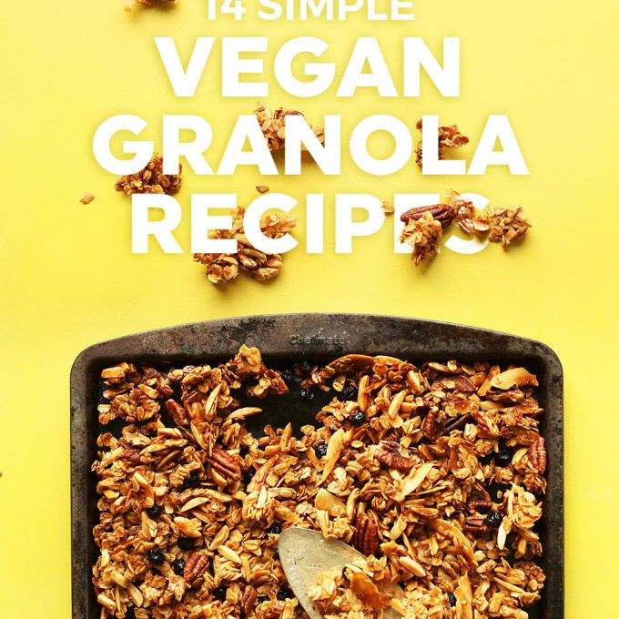 Baking sheet of homemade granola for our Vegan Granola Recipe Roundup