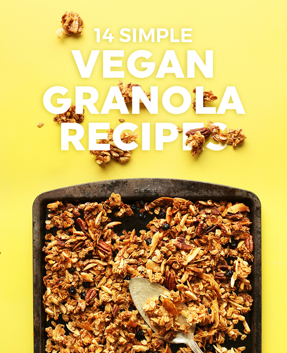 Baking sheet with a batch of freshly baked granola for our Simple Vegan Granola Recipes post