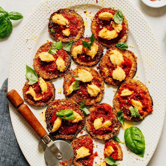 Mini Crispy Eggplant Pizzas