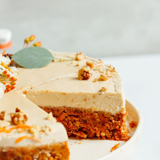 Raw Vegan Carrot cake with a slice removed