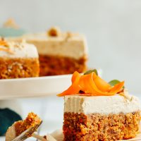 Slice of carrot cake for our mother's day recipes round-up