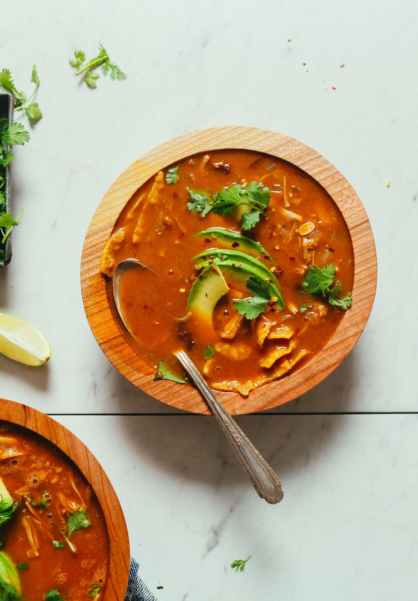 Overhead shot of a bowl of homemade Vegan Tortilla Soup with Jackfruit