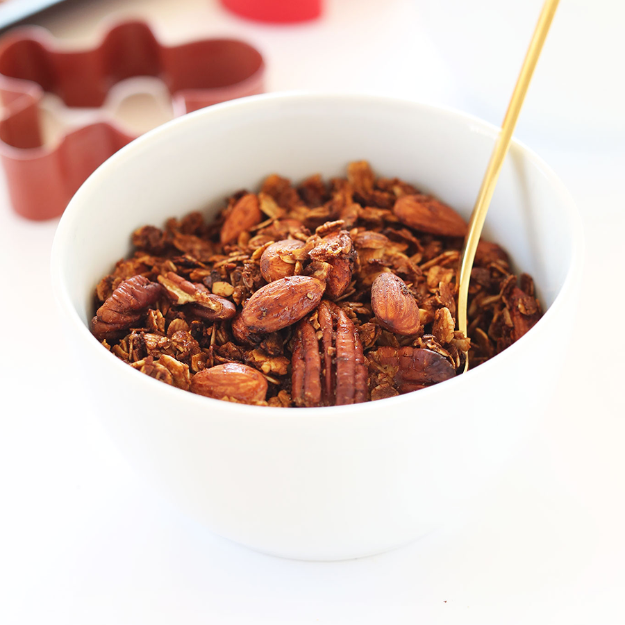 Bowl of homemade Gingerbread Granola