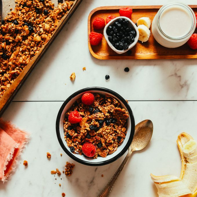 Overhead shot of a bowl of our Easy Buckwheat Granola recipe