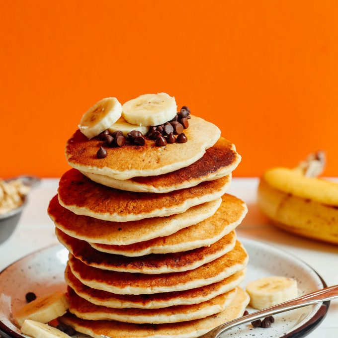 Stack of our delicious vegan banana oat pancakes recipe