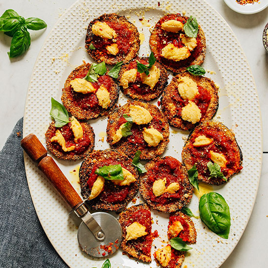 Platter of our flavorful Vegan Eggplant Mini Pizzas