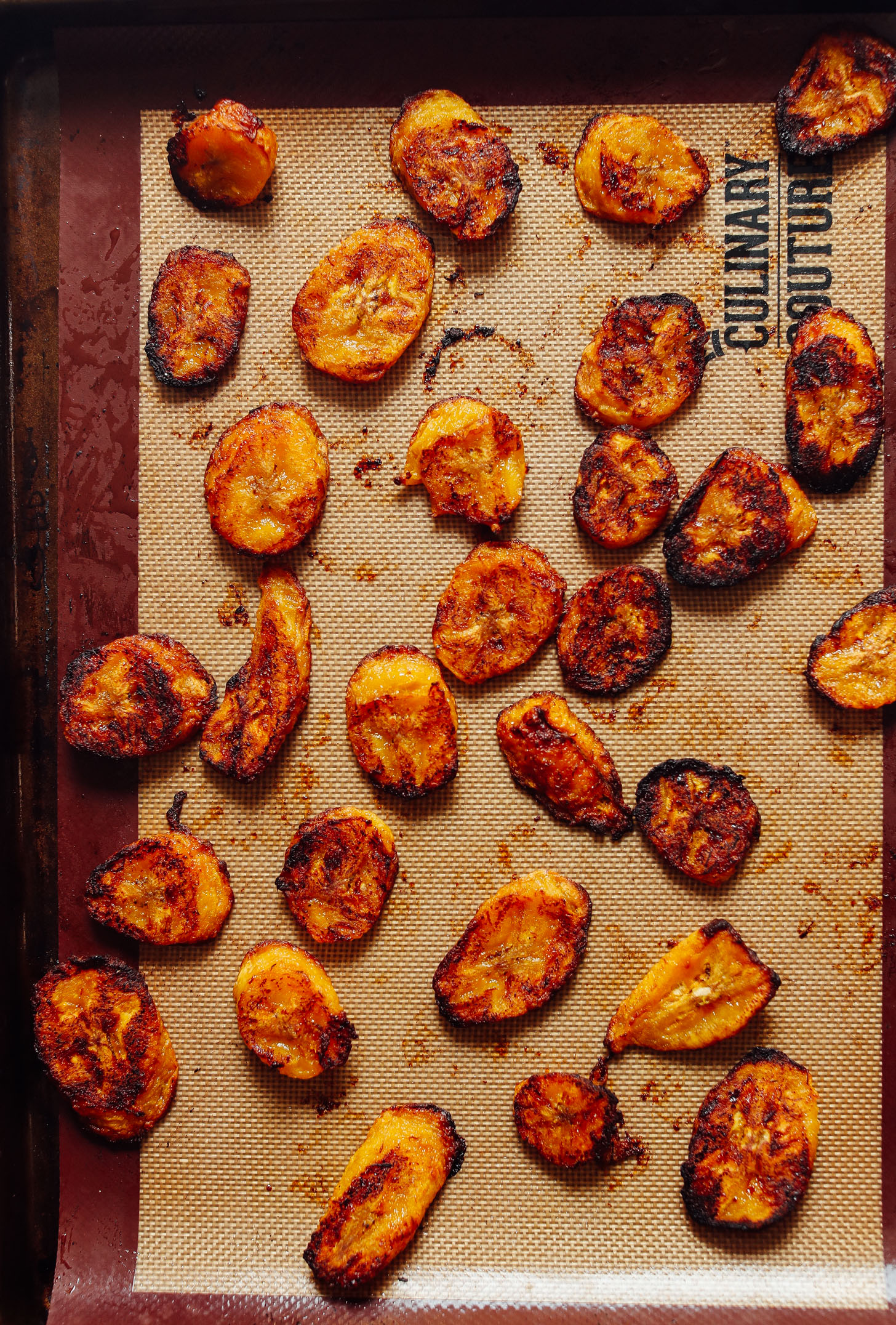 Baking sheet with perfect freshly roasted plantains