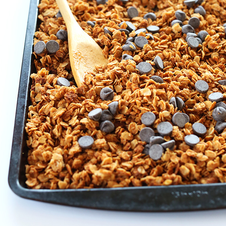 Tray of Vegan Peanut Butter Granola topped with chocolate chips