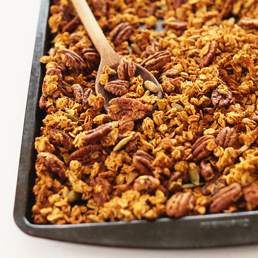 Baking sheet of freshly baked Pumpkin Pecan Granola